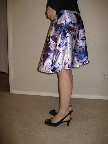 watercolor purple skirt - side