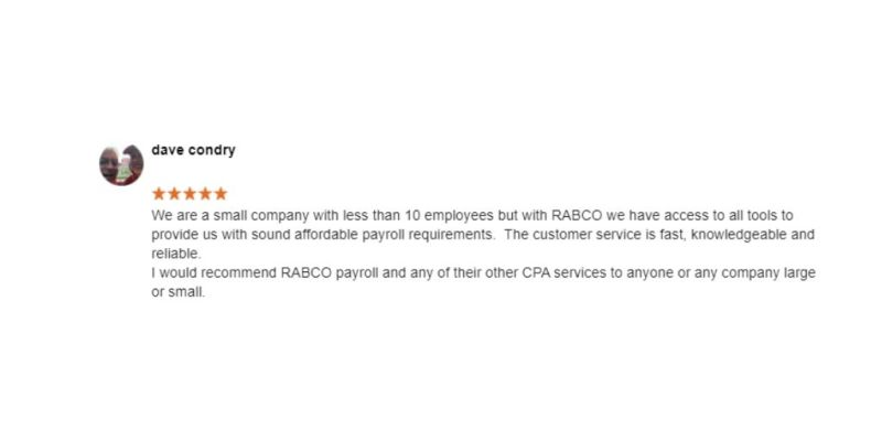 Dave Condry Rabco Google Review