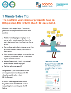 Sales Tip Bring up HR