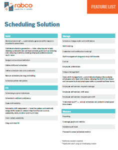 Scheduling Solutions Feature List