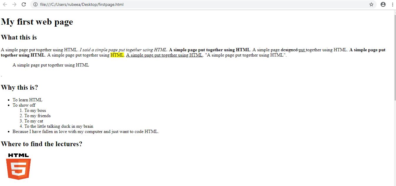 HTML Practice Class Task