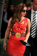 LADY GAGA Meets Donatella Versace in Milan