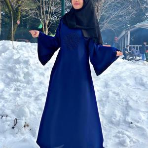 Blue Embroidered Abaya Haya By Rabi