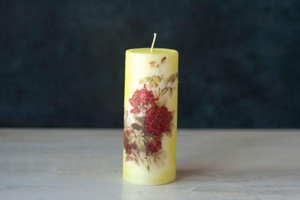 декупажна свещ