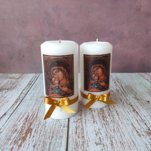 "Декупирана свещ ""Богородица с младенеца"" C2098"