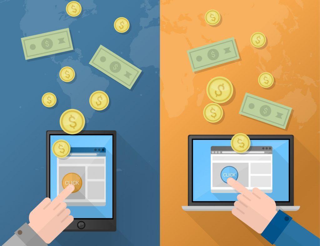 Desenho divido em duas parte. Uma metade azul e a outa laranja. Ambas com um tablet ligado, uma mão em cima clicando em um botão e dinheiro saindo pela imagem