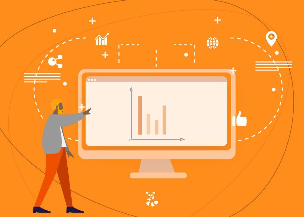 Imagem em vetor de um boneco mostrando um gráfico sobre o aumento em sua campanha de marketing após usar links patrocinados
