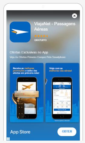 Imagem da tela do aplicativo da ViajaNet.