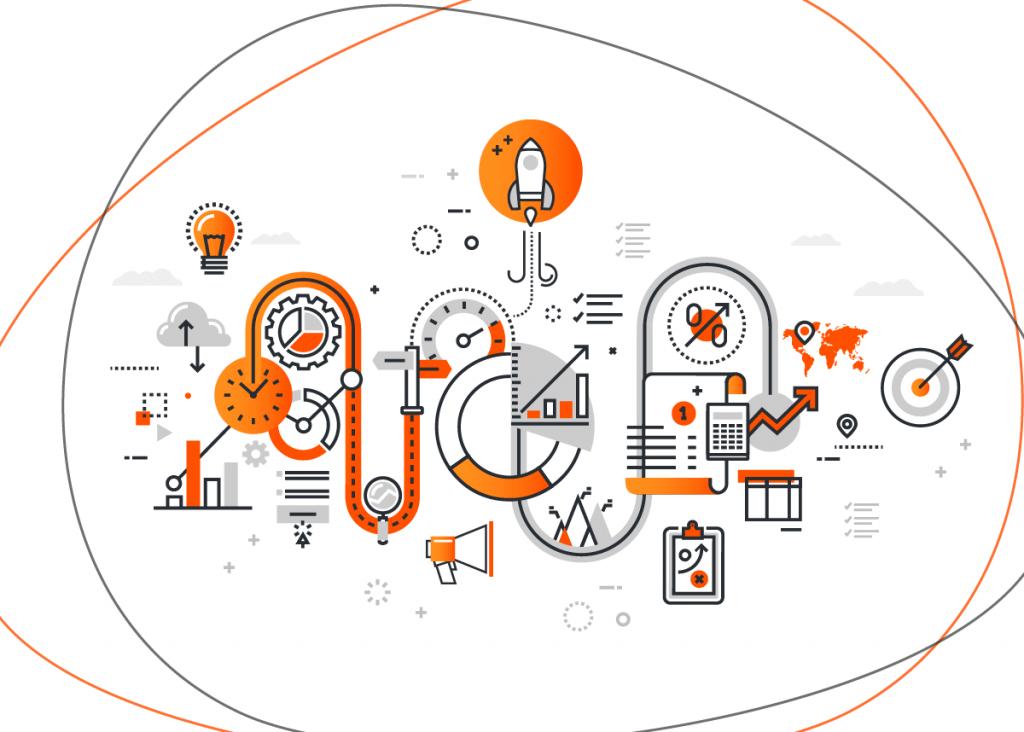 Ilustração com vários ícones de marketing digital, representando ferramentas que podem ajudar no processo depois de descobrir o que vender para ganhar dinheiro online