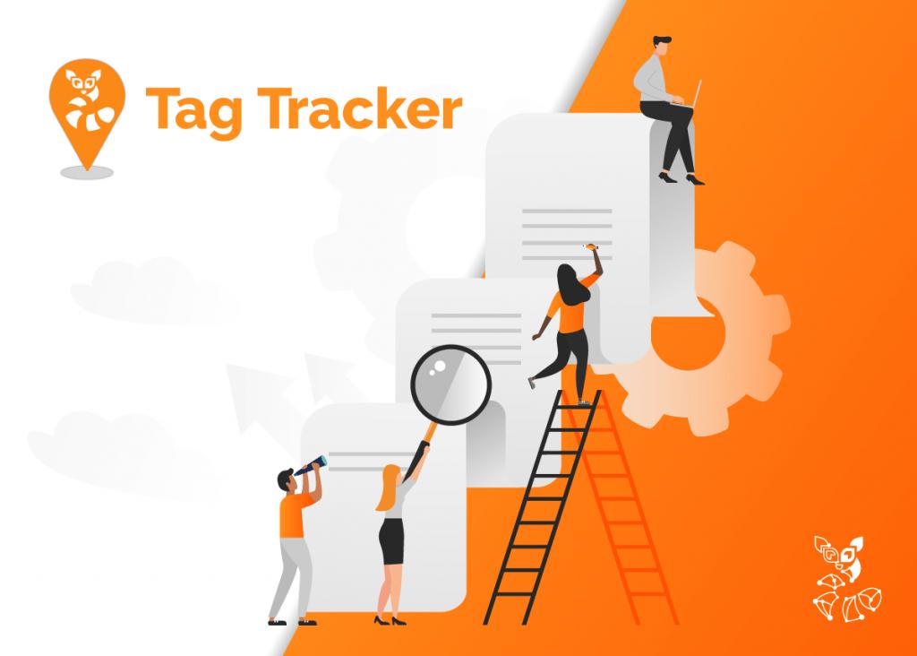 Escada e pessoas com lupas e aparatos de pesquisa subindo ela acompanhando as páginas de seu site observadas com o tag tracker.