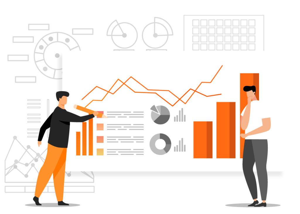 Dois homens analisando resultados de uma pesquisa de mercado