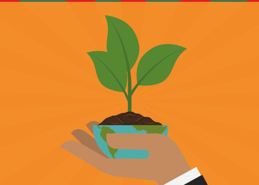 Mão segurando um vaso com uma planta, ressaltando a importância de empresas se preocuparem com a sustentabilidade empresarial