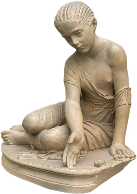 Estatua Romana - Menina Jogando Astragaloi 14 AC