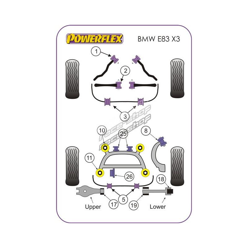Powerflex Hátsó stabilizátor szilent 18.5mm BMW E83 X3