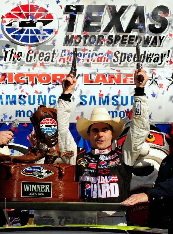 Jeff Gordon, , driver of the #24 DuPont Chevrolet, celebrates in victory lane after winning the NASCAR Sprint Cup Series Samsung 500 at Texas Motor Speedway on April 5, 2009 in Fort Worth, Texas. (Photo by Rusty Jarrett/Getty Images for NASCAR)