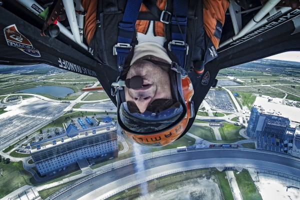 Nicolas Ivanoff of France performs during the sixth stage of the Red Bull Air Race World Championship at the Texas Motor Speedway in Fort Worth, Texas, United States on September 5, 2014.