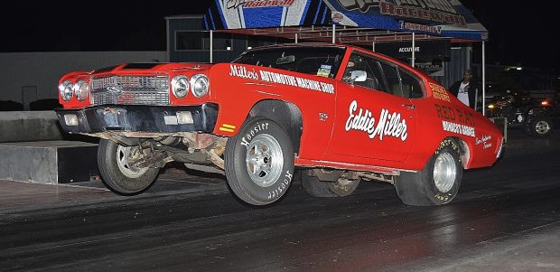 5.80 index car Eddie Miller gets the wheel way up on his Chevelle. Photo by JM Hallas