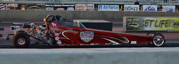 Jr Dragster co-winner Kenneth Hillin on a bye run. Photo by JM Hallas
