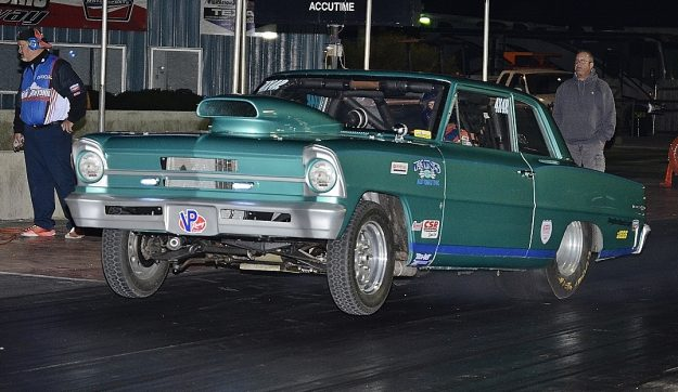 Dale Rutledge launching in his old school Chevy Nova. Photo by JM Hallas