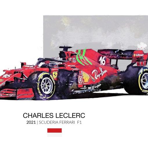Charles Leclerc 2021 F1 Art Ferrari F1