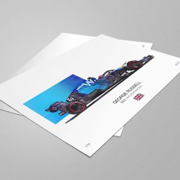 George Russell - Williams F1 Art 2021 Williams Racing F1 Art Print Prints are posted in tubes, frames are not included.