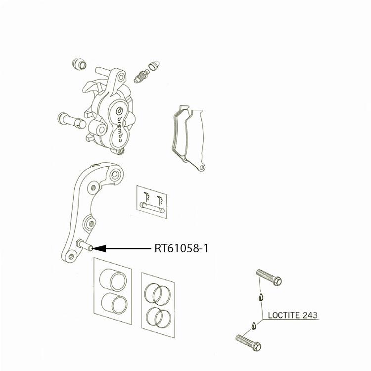 Titanium Front & Rear Brake Caliper Hanger Carrier Pin