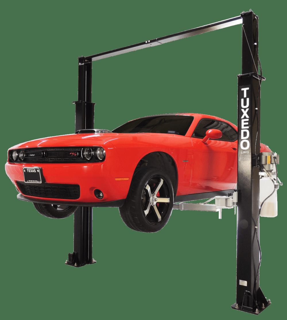 medium resolution of tuxedo 9 000 lb capacity overhead 2 post lift asymmetric race tp9kac tux dodge challenger
