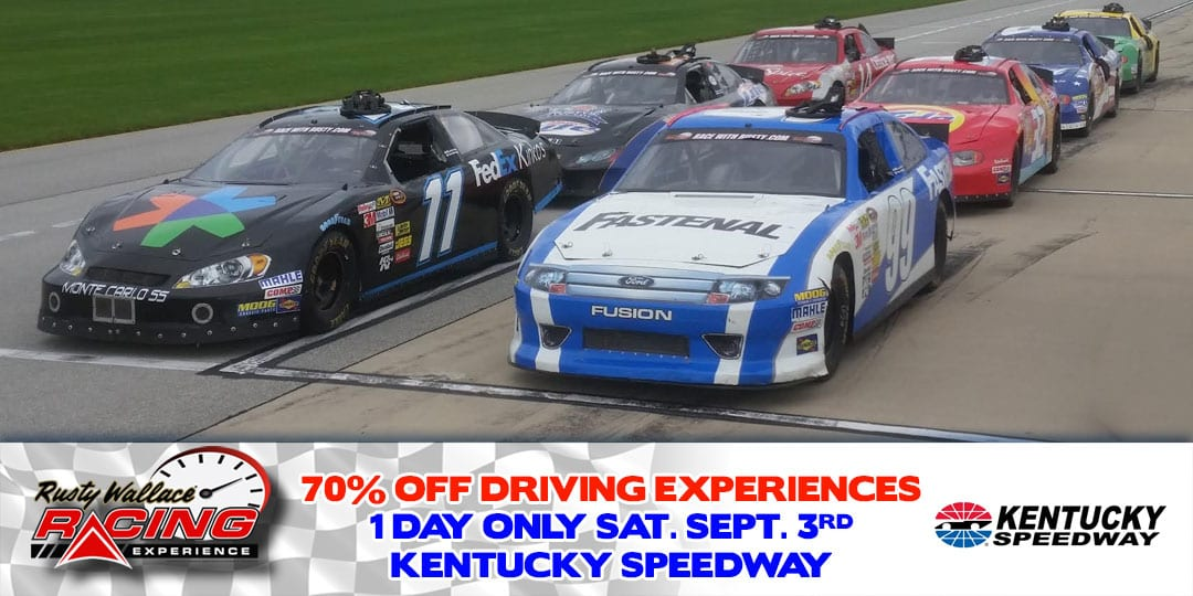 70% OFF Race Car Driving Experiences at Kentucky Speedway Saturday September 3rd.