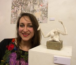 Orli Ivanov with her work at Modern Panic IV (photo by S.J Stagg)