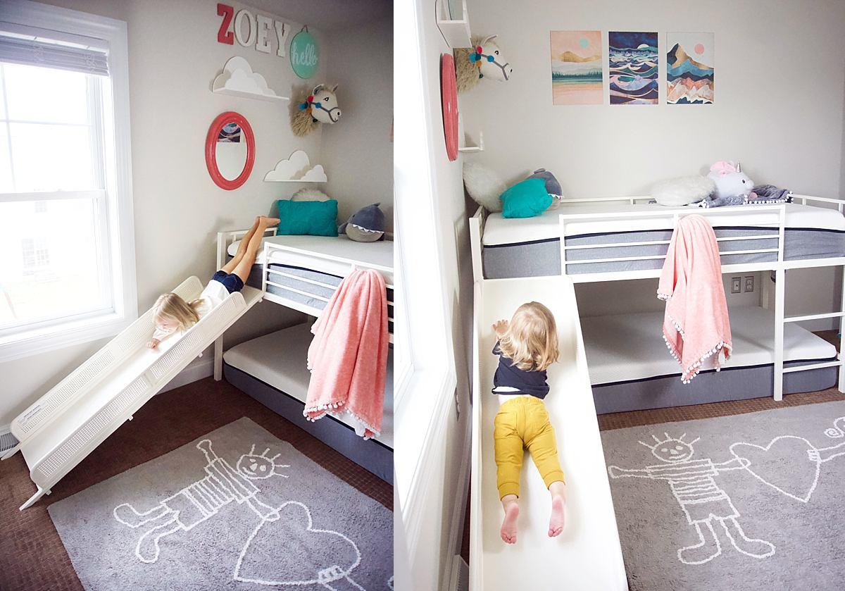 Cute Kids Room Design With Slide Bed Loft Bunk Bed 0192 Rachael Burgess