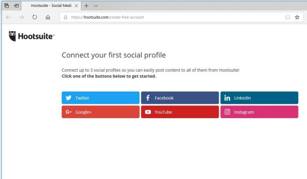 Hootsuite 1. Connect first social profile