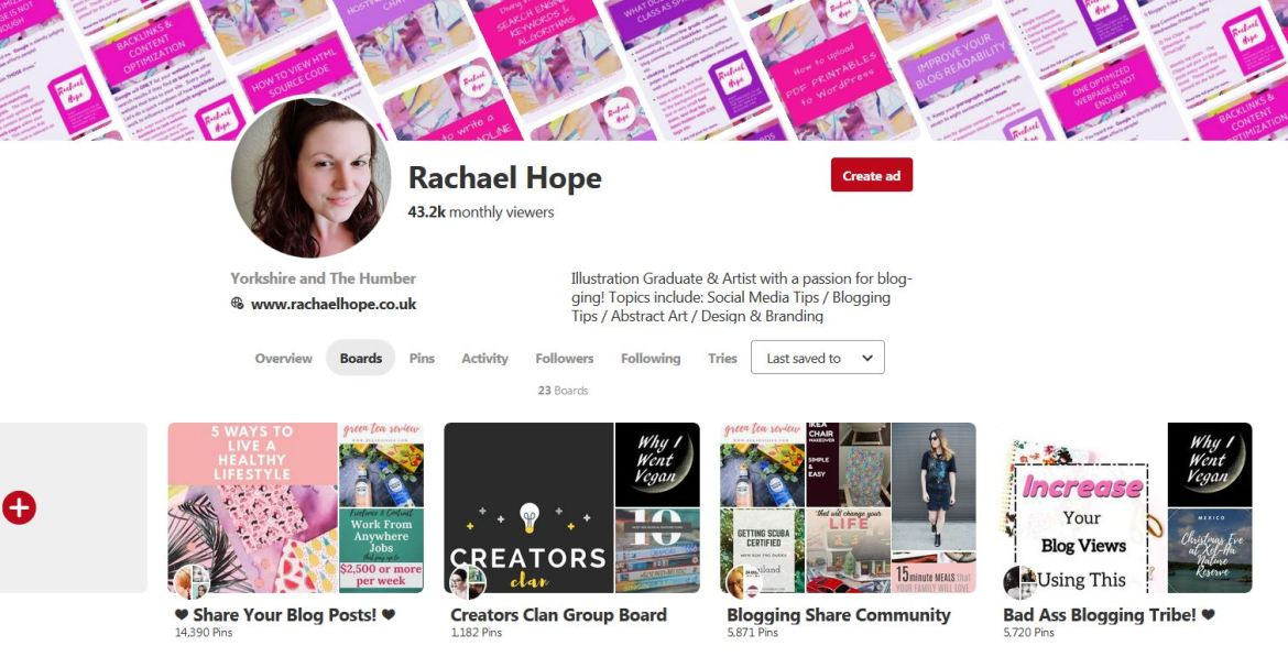 Pinterest Boards section 1