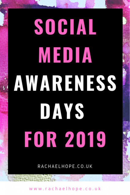 I would like to introduce to you my updated list of Social Media Awareness Days for 2019* to inform your Blog and Social Media Content! #blogging #bloggingtips #bloggingforbeginners #bloggingadvice #bloggingformoney #blogging101 #digitalmarketing #marketingtips #businesstips #businessmarketing