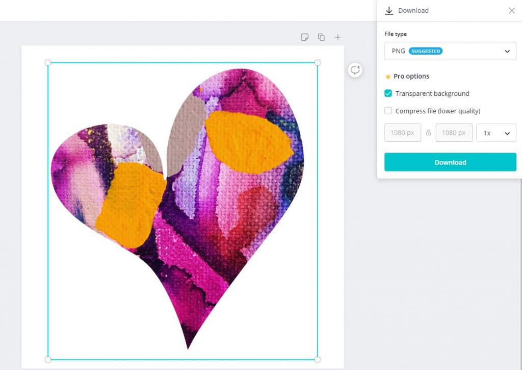 Abstract PNG Heart using a frame from Canva