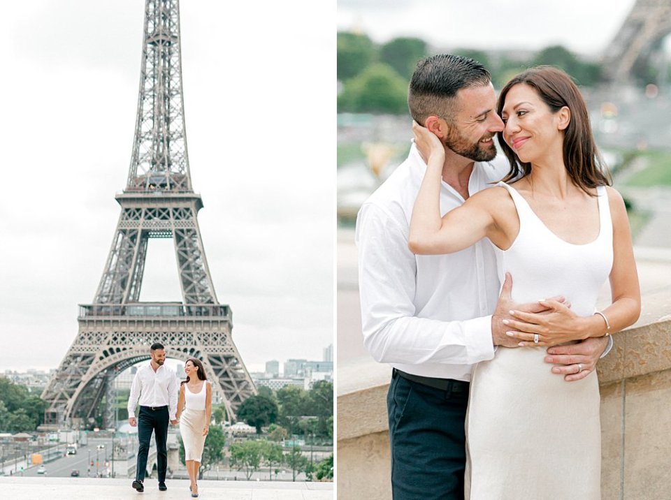Romantic anniversary photos in front of the Eiffel tower