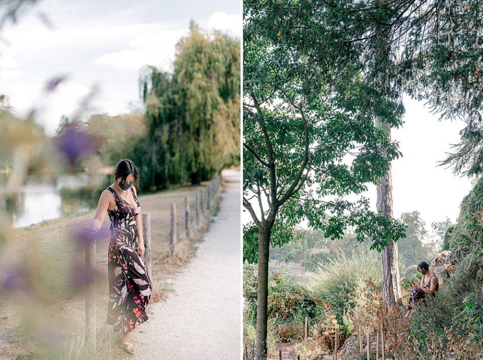 Single masked ex-pat woman exploring Lac Daumesnil in the Bois de Vincennes, outside of Paris