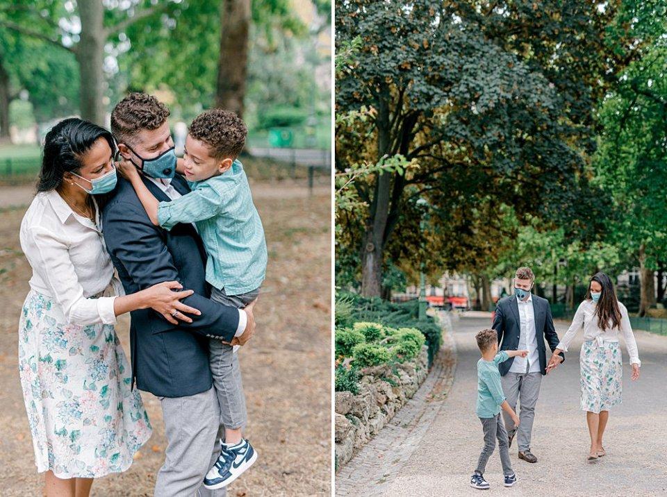 Masked ex-pat family walking through Parc Monceau in Paris