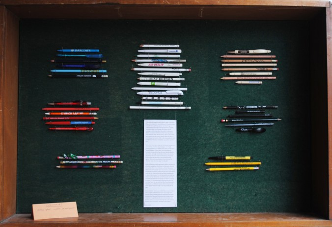 Collection #7 - Barry Sykes' souvenir pens and pencils on display at Extra Bones HQ (2013)