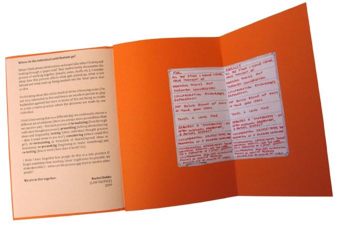 DETAIL: Back cover of original On Collaboration pamphlet