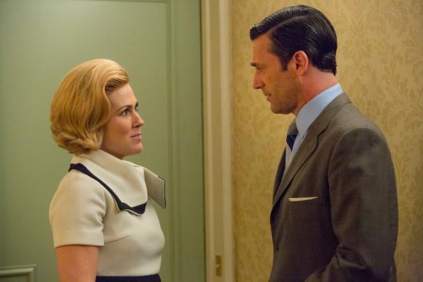 Rachel Cannon and John Hamm on the set of Mad Men