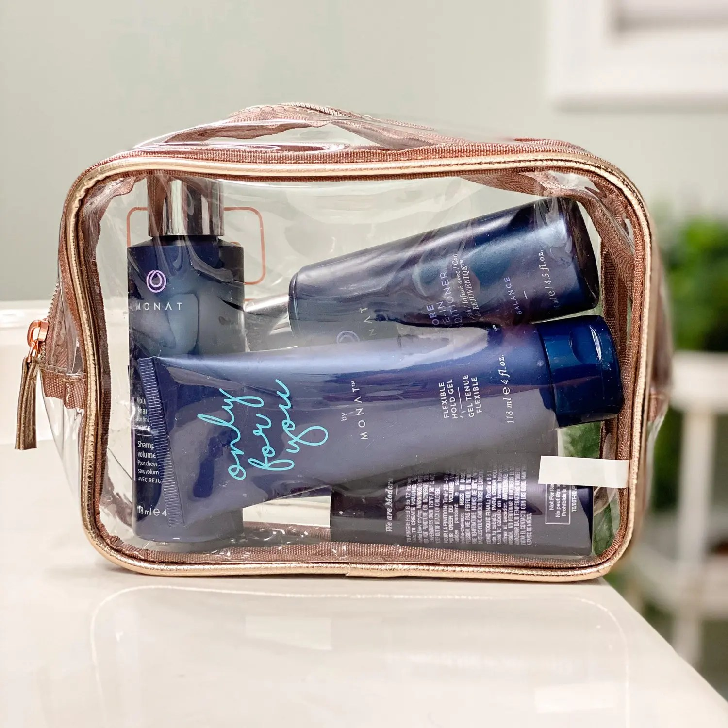 pretty rose gold clear bag for travel