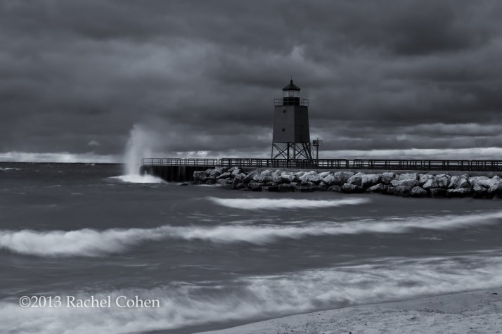 Charlevoix Lighthouse Storm in monochrome