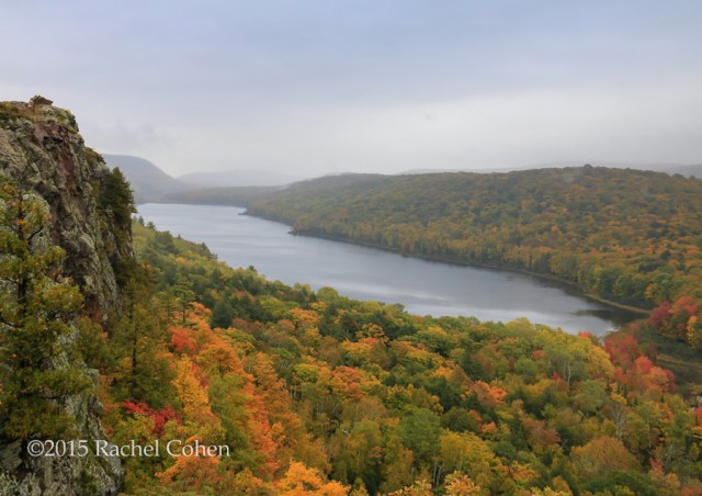 """""""Lake of the Clouds in Mist"""" A foggy, misty, and rainy day at Lake of the Clouds in the Porcupine Mountains of MI."""