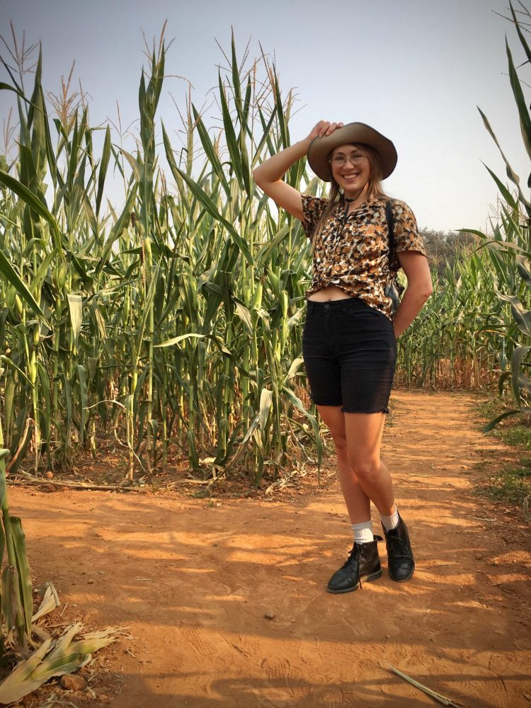 Rachel is posing in a corn maze wearing a crop top and holding up the brim of her wide brimmed hat.
