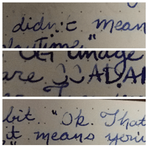 photo collage showing how my Stipula pen skips as I write