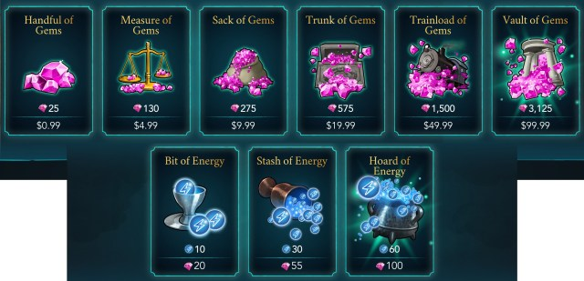 Gem and Energy Packages