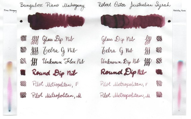 Comparison swatches and chromatography strips for Bungubox Piano Mahogany and Robert Oster Australian Syrah