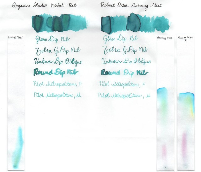 Comparison swatches and chromatography strips for Organics Studio Nickel Teal and Robert Oster Morning Mist.