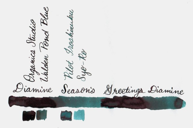 Comparative swatches for Inkvent Day 16 ink Seasons Greetings