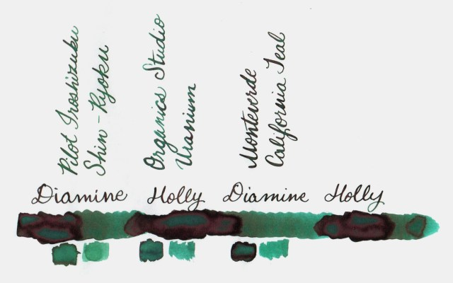 Comparative swatches for Inkvent Day 18 ink Holly
